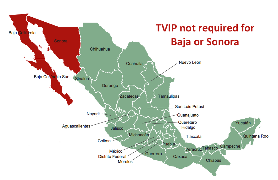 TVIP Not Required In Baja or Sonora